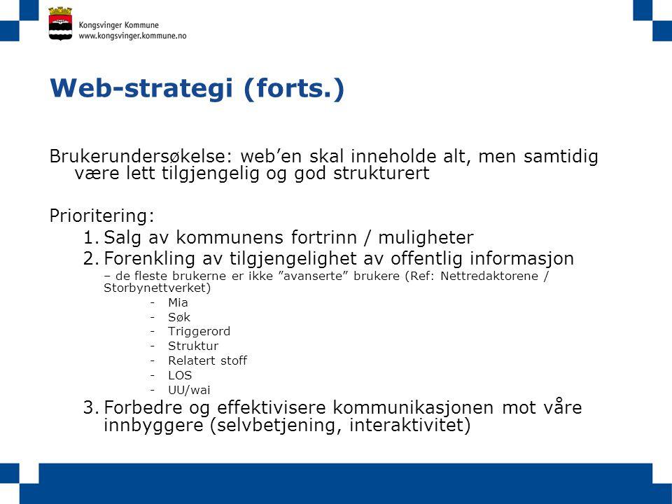 Web-strategi (forts.) Brukerundersøkelse: web'en skal inneholde alt, men samtidig være lett tilgjengelig og god strukturert.