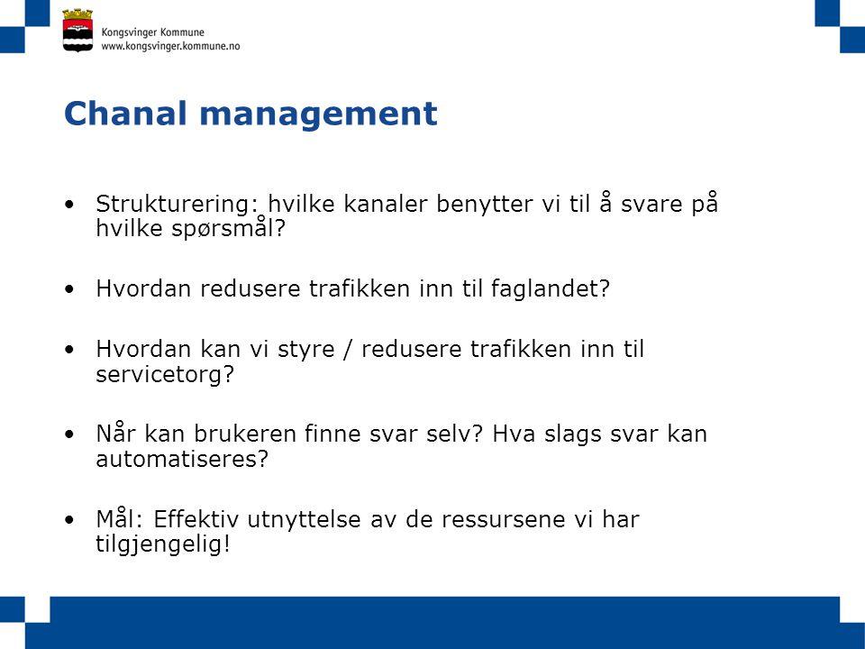 Chanal management Strukturering: hvilke kanaler benytter vi til å svare på hvilke spørsmål Hvordan redusere trafikken inn til faglandet