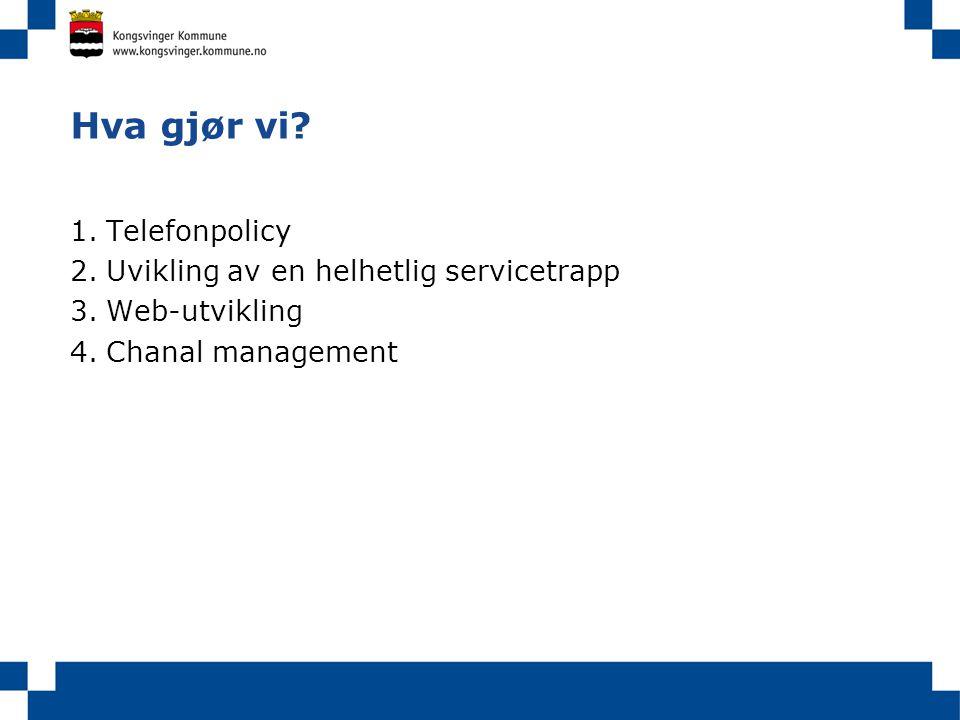 Hva gjør vi Telefonpolicy Uvikling av en helhetlig servicetrapp