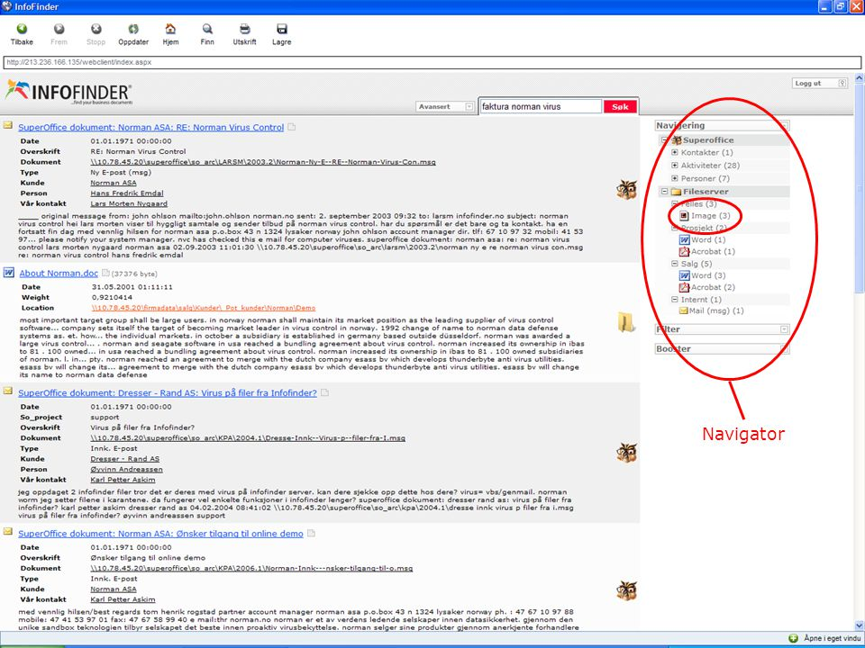 InfoFinder 2.0 Navigator