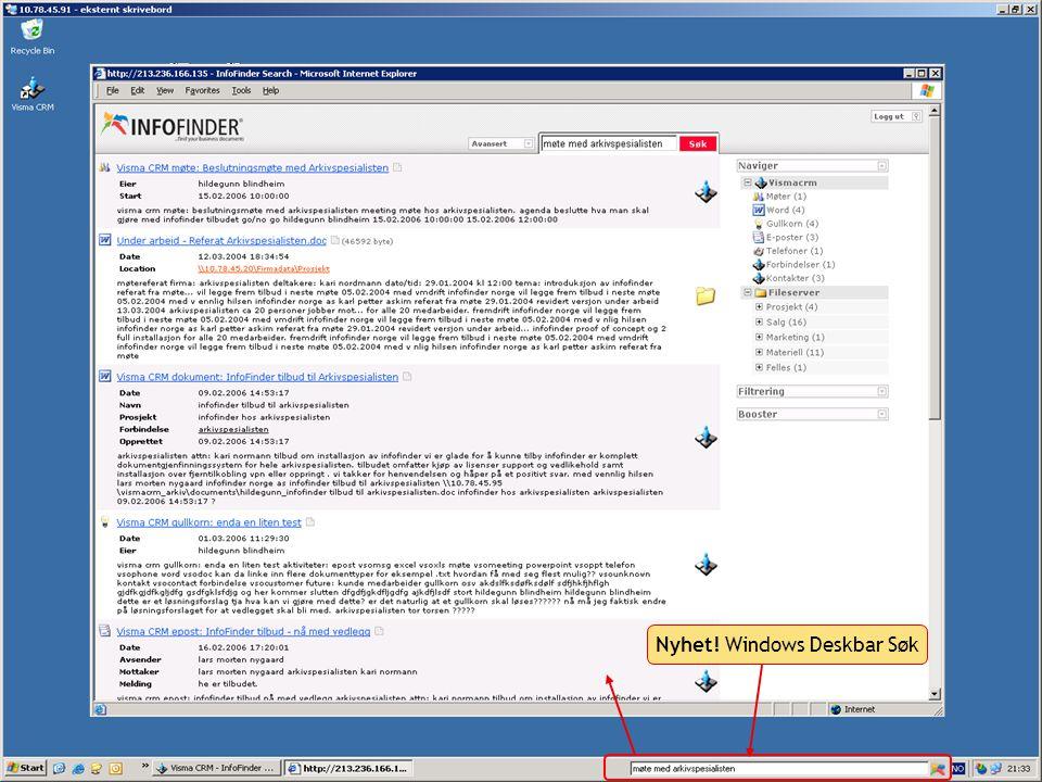 Nyhet! Windows Deskbar Søk