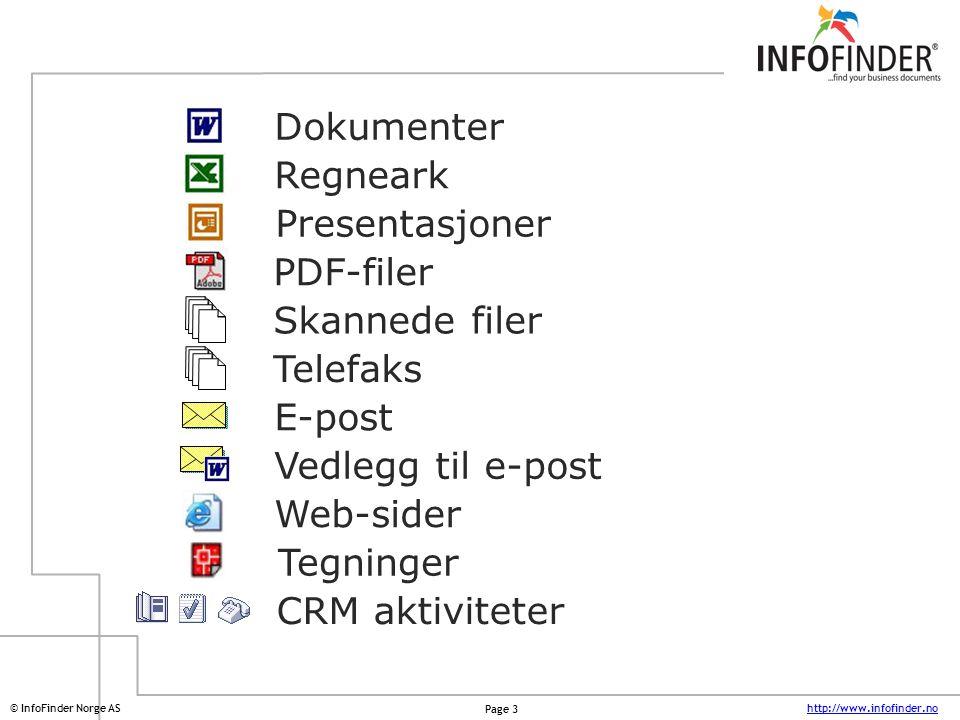 Dokumenter Regneark. Presentasjoner. PDF-filer. Skannede filer. Telefaks. E-post. Vedlegg til e-post.