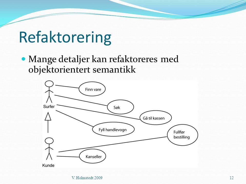 Refaktorering Mange detaljer kan refaktoreres med objektorientert semantikk V. Holmstedt 2009