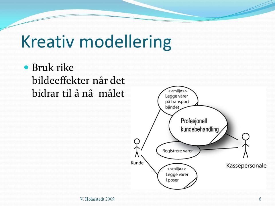 Kreativ modellering Bruk rike bildeeffekter når det bidrar til å nå målet V. Holmstedt 2009