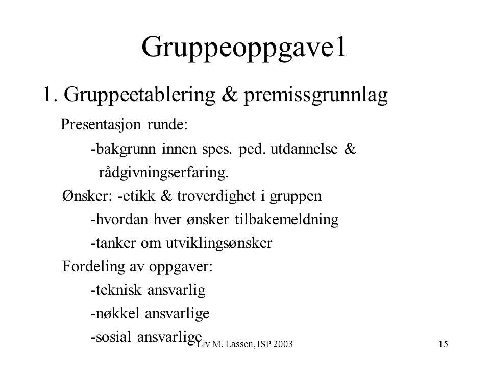 Gruppeoppgave1 1. Gruppeetablering & premissgrunnlag