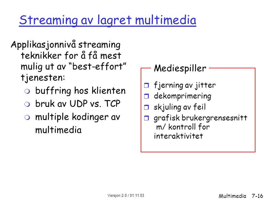 Streaming av lagret multimedia
