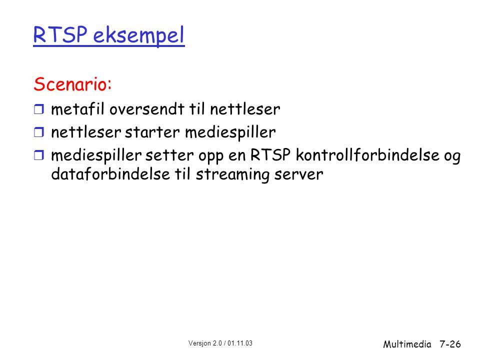 RTSP eksempel Scenario: metafil oversendt til nettleser