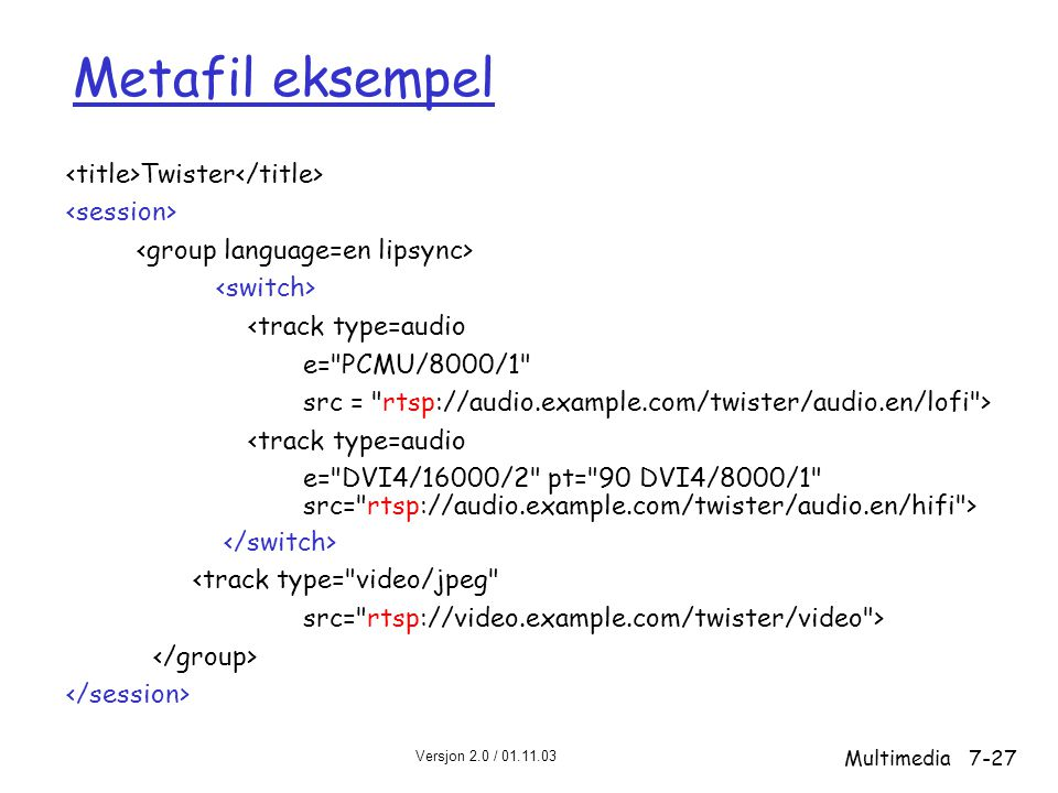 Metafil eksempel <title>Twister</title> <session>