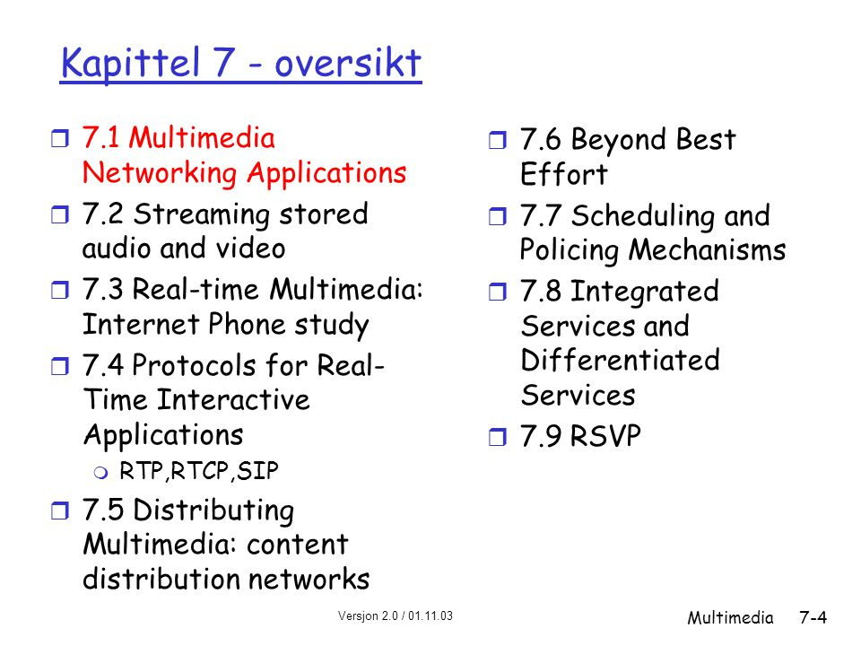 Kapittel 7 - oversikt 7.1 Multimedia Networking Applications
