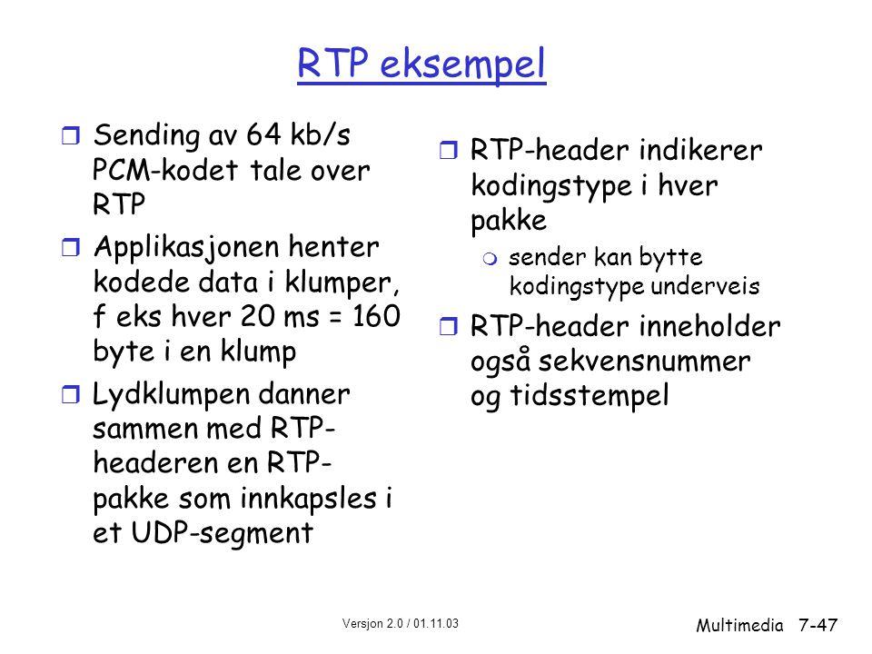 RTP eksempel Sending av 64 kb/s PCM-kodet tale over RTP