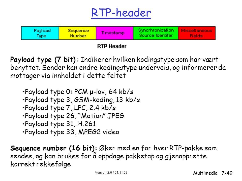 RTP-header Payload type (7 bit): Indikerer hvilken kodingstype som har vært. benyttet. Sender kan endre kodingstype underveis, og informerer da.
