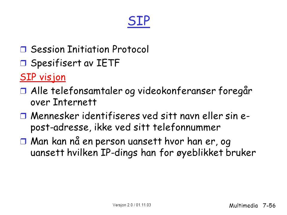 SIP Session Initiation Protocol Spesifisert av IETF SIP visjon