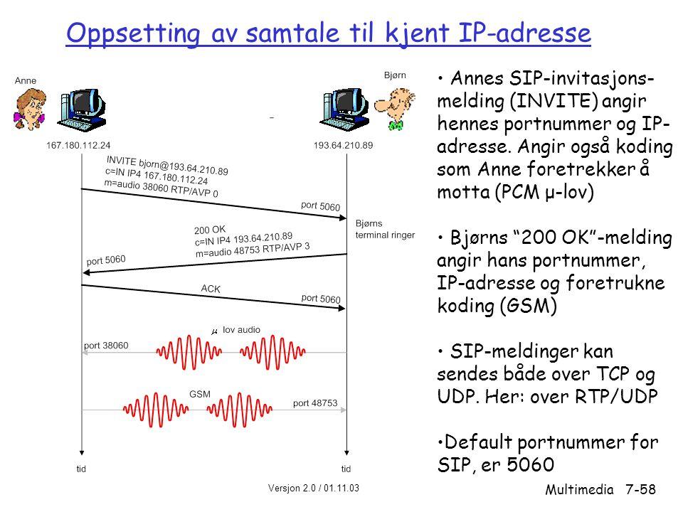 Oppsetting av samtale til kjent IP-adresse
