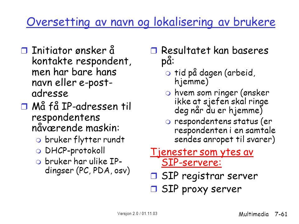 Oversetting av navn og lokalisering av brukere