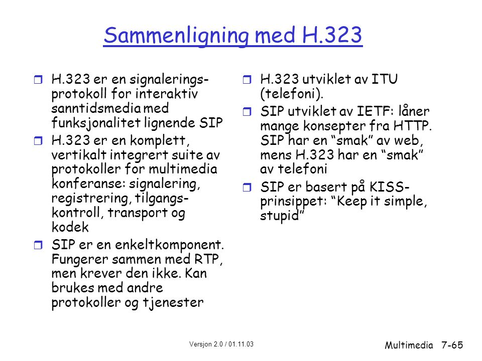 Sammenligning med H.323 H.323 er en signalerings-protokoll for interaktiv sanntidsmedia med funksjonalitet lignende SIP.