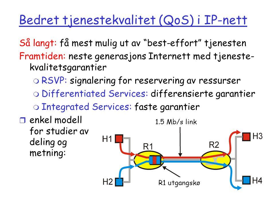 Bedret tjenestekvalitet (QoS) i IP-nett