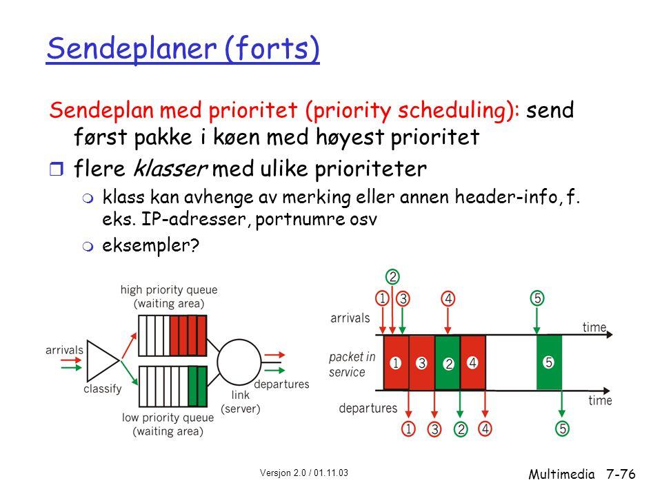 Sendeplaner (forts) Sendeplan med prioritet (priority scheduling): send først pakke i køen med høyest prioritet.