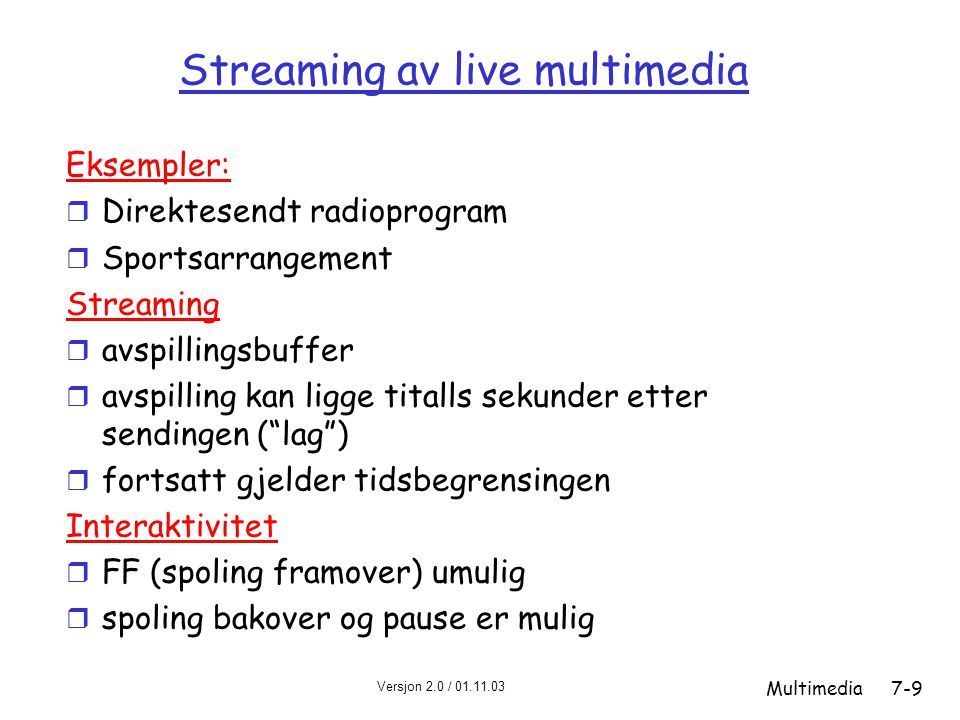 Streaming av live multimedia