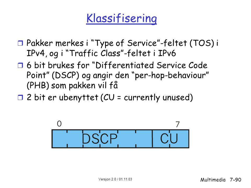 Klassifisering Pakker merkes i Type of Service -feltet (TOS) i IPv4, og i Traffic Class -feltet i IPv6.