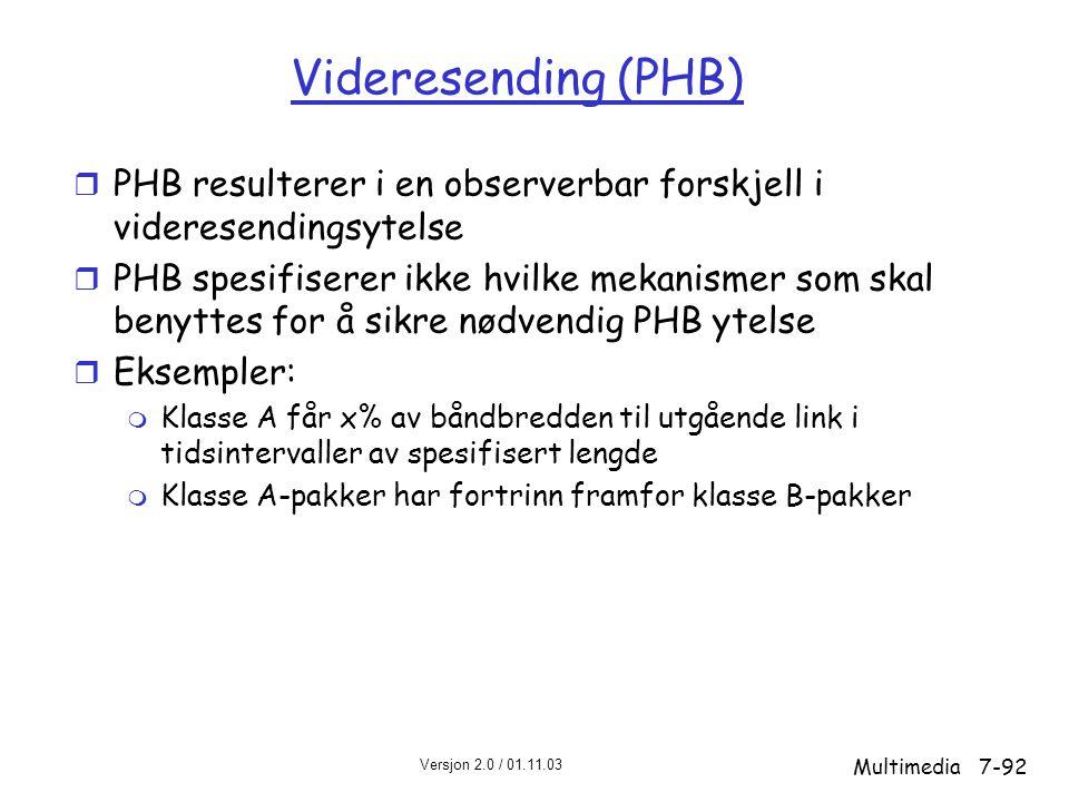 Videresending (PHB) PHB resulterer i en observerbar forskjell i videresendingsytelse.