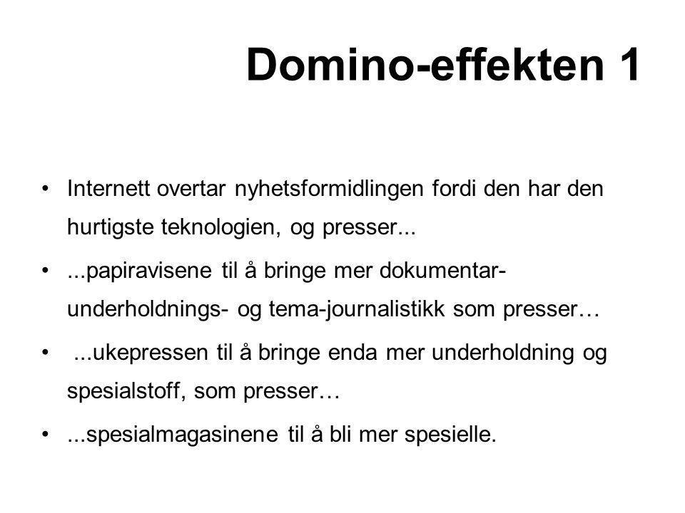 Domino-effekten 1 Internett overtar nyhetsformidlingen fordi den har den hurtigste teknologien, og presser...