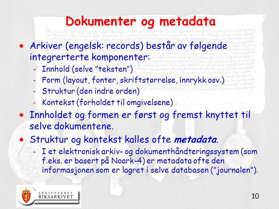 Dokumenter og metadata