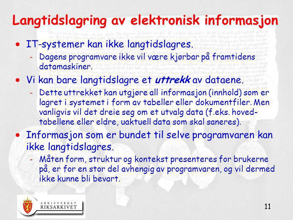 Langtidslagring av elektronisk informasjon