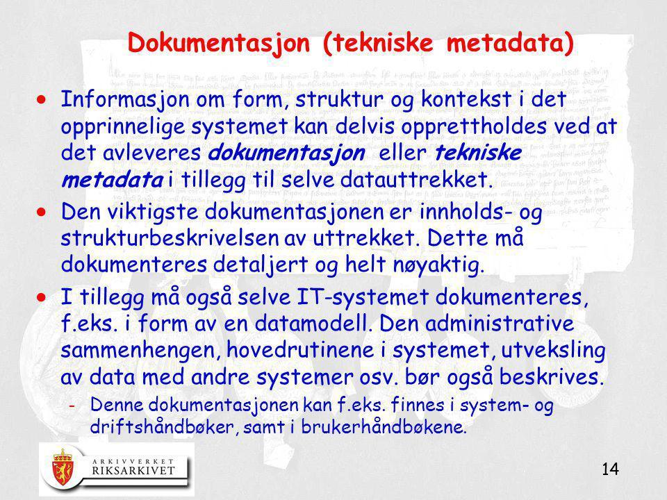 Dokumentasjon (tekniske metadata)