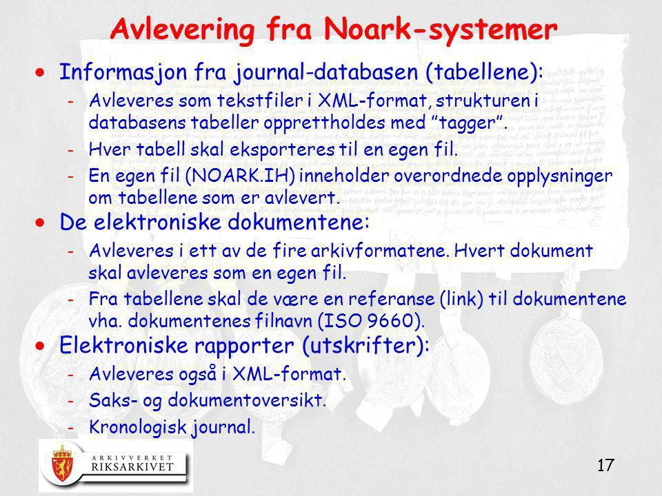 Avlevering fra Noark-systemer