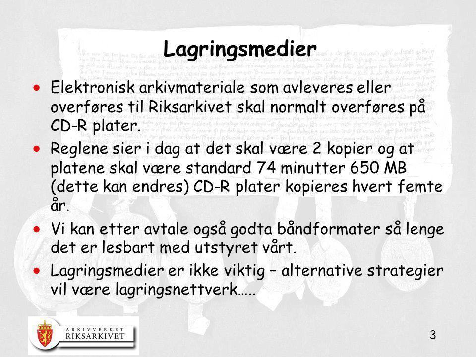 Lagringsmedier Elektronisk arkivmateriale som avleveres eller overføres til Riksarkivet skal normalt overføres på CD-R plater.