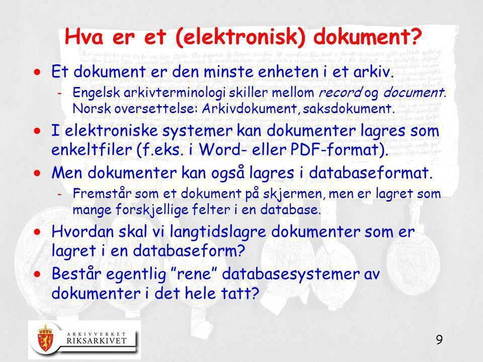 Hva er et (elektronisk) dokument