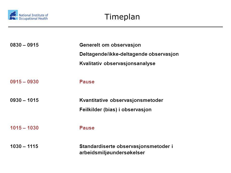 Timeplan 0830 – 0915 Generelt om observasjon