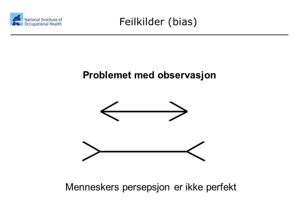 Feilkilder (bias) Problemet med observasjon Menneskers persepsjon er ikke perfekt