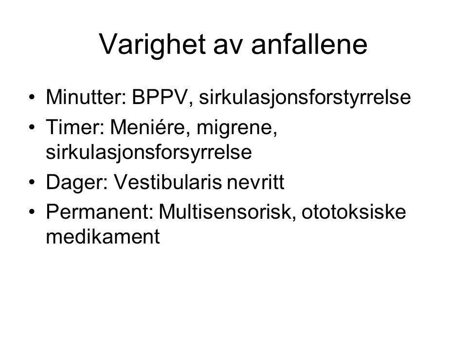Varighet av anfallene Minutter: BPPV, sirkulasjonsforstyrrelse