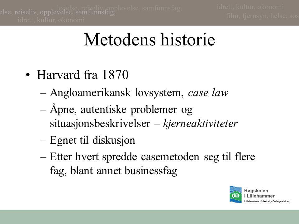 Metodens historie Harvard fra 1870 Angloamerikansk lovsystem, case law