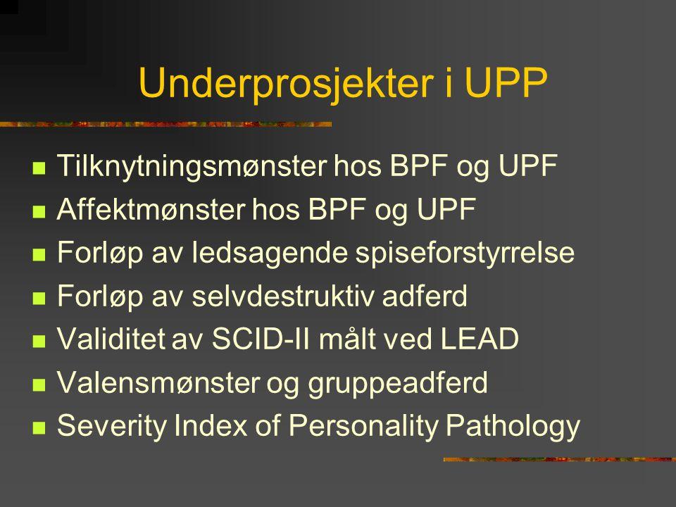 Underprosjekter i UPP Tilknytningsmønster hos BPF og UPF