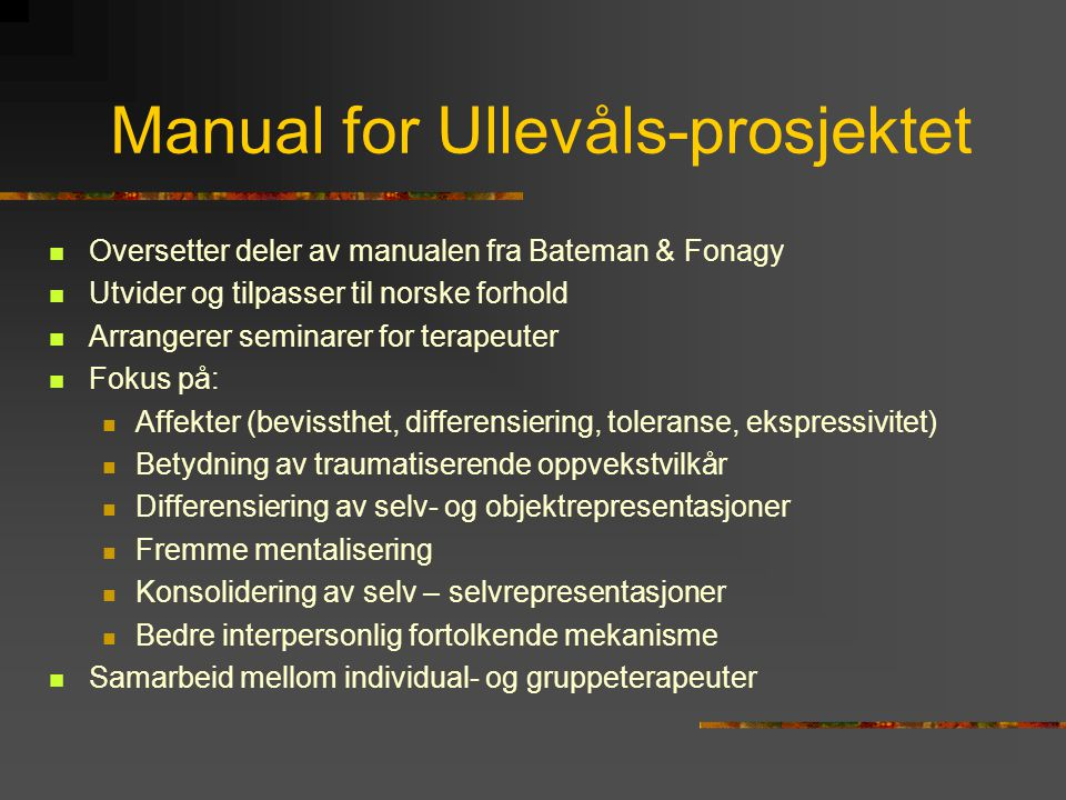 Manual for Ullevåls-prosjektet