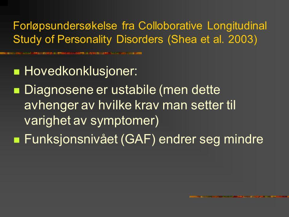 Funksjonsnivået (GAF) endrer seg mindre