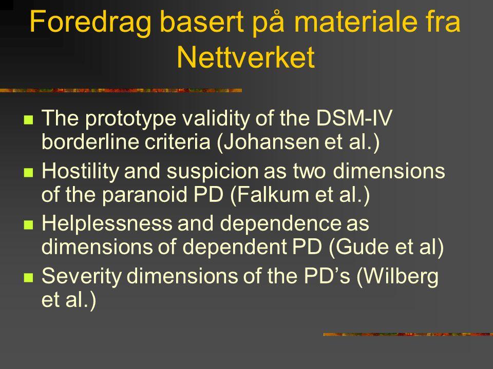 Foredrag basert på materiale fra Nettverket