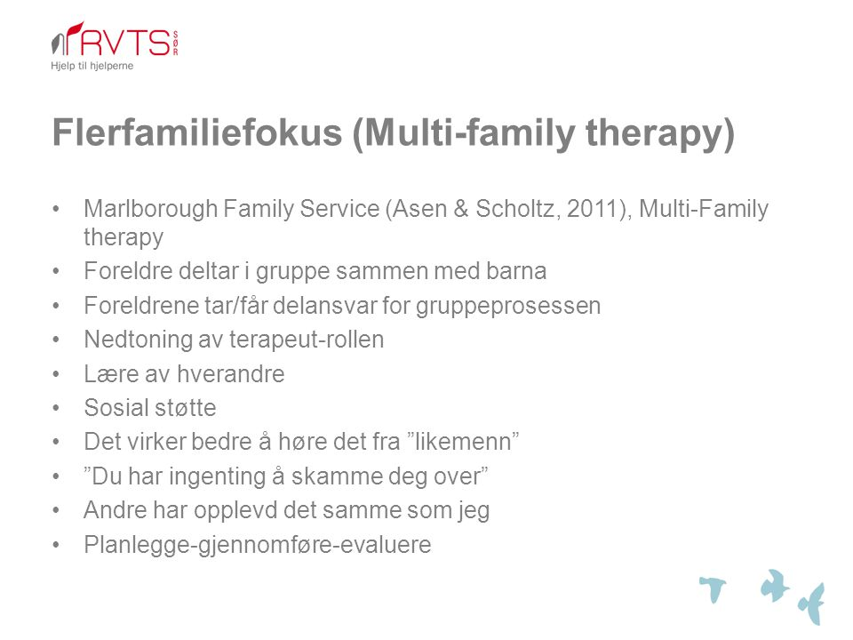 Flerfamiliefokus (Multi-family therapy)