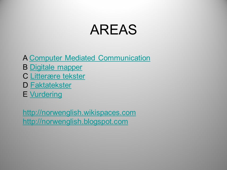 AREAS A Computer Mediated Communication B Digitale mapper