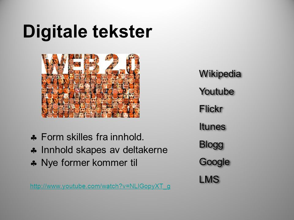 Digitale tekster Wikipedia Youtube Flickr Itunes Blogg Google LMS
