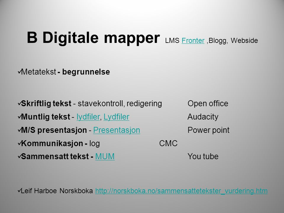 B Digitale mapper LMS Fronter ,Blogg, Webside