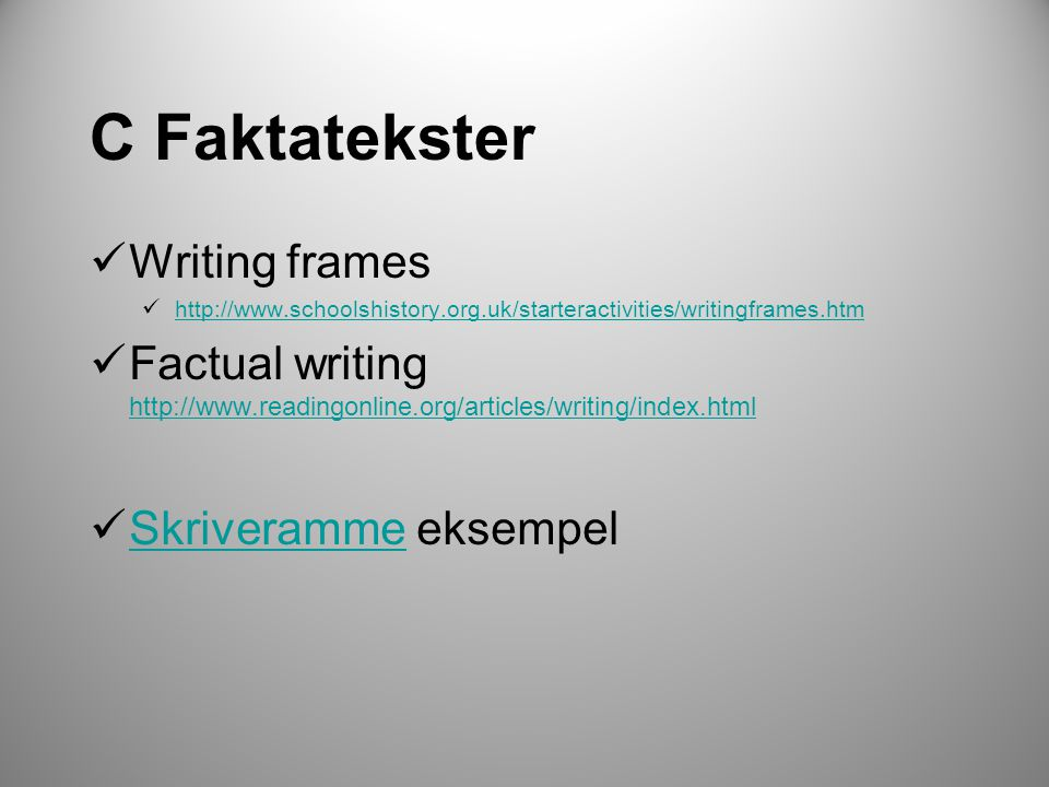 C Faktatekster Writing frames