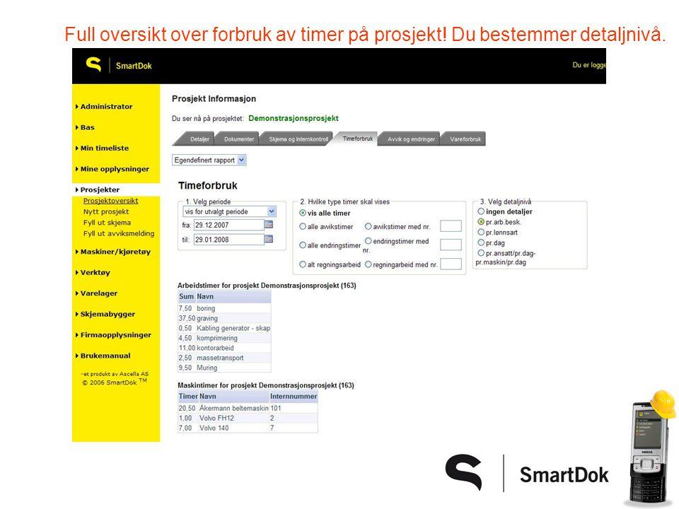 Full oversikt over forbruk av timer på prosjekt