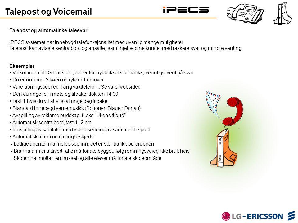 Talepost og Voicemail Talepost og automatiske talesvar