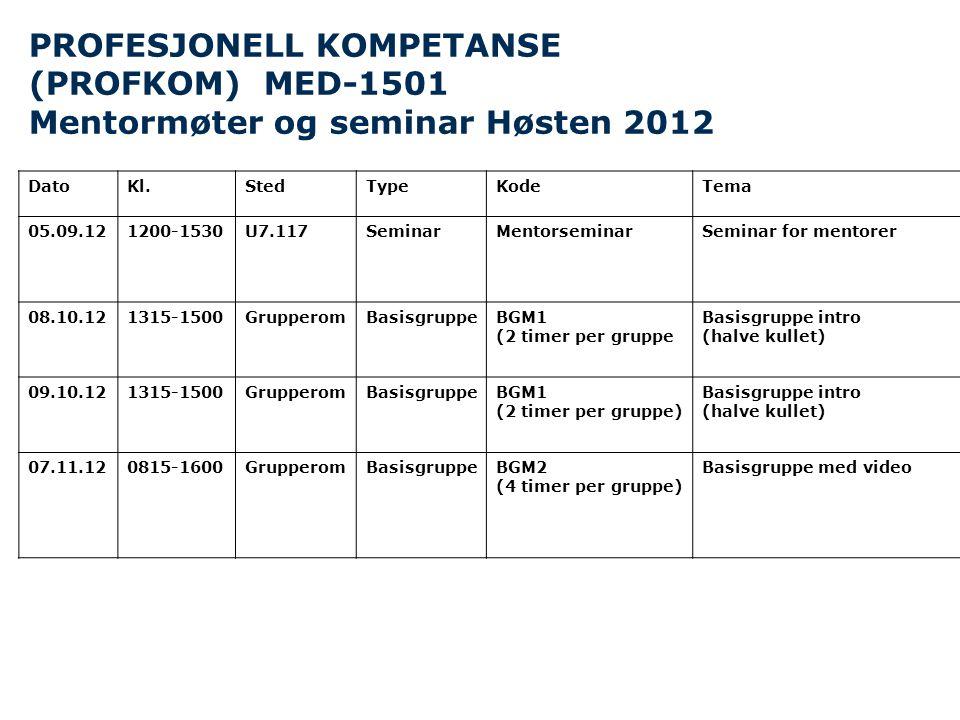 PROFESJONELL KOMPETANSE (PROFKOM) MED-1501 Mentormøter og seminar Høsten 2012