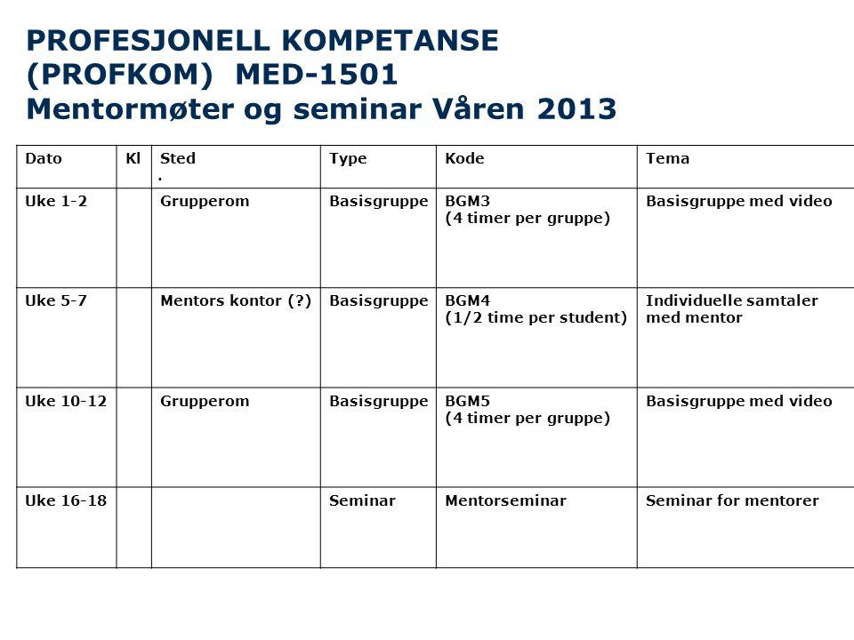 PROFESJONELL KOMPETANSE (PROFKOM) MED-1501 Mentormøter og seminar Våren 2013