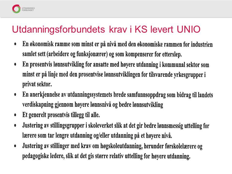 Utdanningsforbundets krav i KS levert UNIO