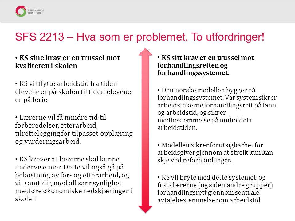 SFS 2213 – Hva som er problemet. To utfordringer!